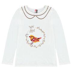 Camiseta con estampado de fantasía y efecto cuello falso