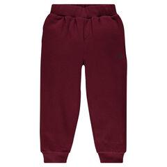 Pantalón de chándal de felpa liso con bolsillo