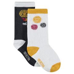 Pack de 2 pares de calcetines altos a juego con estampado floral