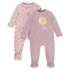 Pack de 2 pijamas de terciopelo con abertura que se adapta a cada edad.