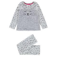 Pijama de terciopelo all over con dibujo de gato de borreguillo