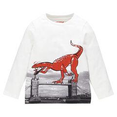 Camiseta manga larga de color liso estampado fantasía