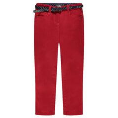 Pantalón slim liso con talle alto y cinturón extraíble