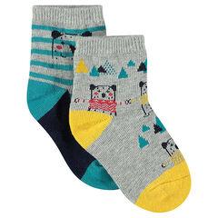 Pack de 2 pares de calcetines con dibujo de oso