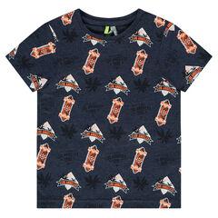 Camiseta de manga corta de punto con estampado all-over