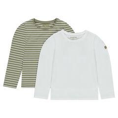 Júnior - Juego de 2 camisetas interiores de punto liso/a rayas
