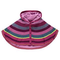 Capa con capucha de punto con rayas multicolor con forro de micropolar