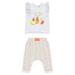 Conjunto de camiseta con volantes y pantalón bombacho de lunares