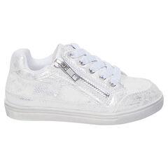 Zapatillas deportivas bajas blancas y plateadas con cordones y cremallera