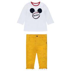 Conjunto de camiseta de manga larga reversible Mickey con pantalón de terciopelo