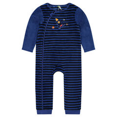Pijama de borreguillo de rayas y cohete