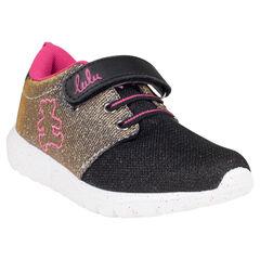 Zapatillas de deporte de caña baja con cordones con sujeción mediante elástico con velcro con purpurina