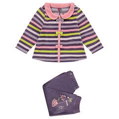 Pijama de terciopelo a rayas adaptado en función de la edad
