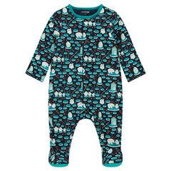 Pijama de jersey con pingüinos estampados