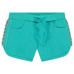 Pantalón corto de felpa con flores bordadas