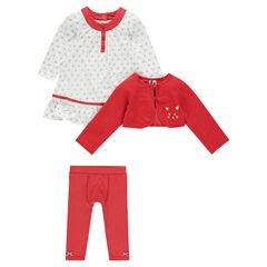 Conjunto 3 piezas chaleco vestido con estampado legging