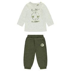 Conjunto de camiseta estampada y pantalón de terciopelo caqui ©Smiley