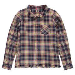 Júnior - Camisa de cuadros con flecos de fantasía
