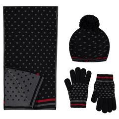 Conjunto de boina, bufanda y guantes de punto con lunares