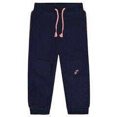 Pantalón de jogging de felpa lisa con parches de colores