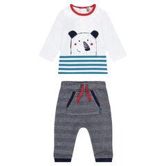 Conjunto de camiseta con estampado de osito y pantalón con chevrones