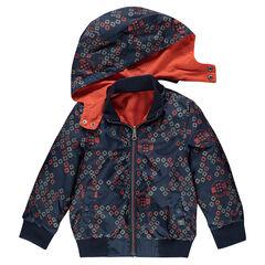 Cortaviento reversible de color liso / con estampado con capucha desmontable