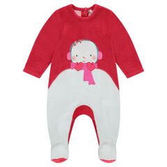 Pijama de terciopelo con dibujo de muñeco de nieve bordado