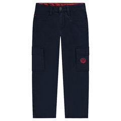 Pantalón recto con bolsillos y forro micropolar