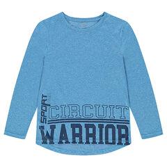 Camiseta de manga corta en azul jaspeado con inscripciones estampadas