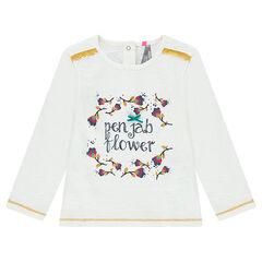 Camiseta de punto slub con estampado de fantasía y encaje