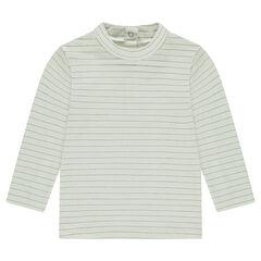 Camiseta interior con cuello enrollado de rayas plateadas
