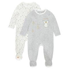 Pack de 2 pijamas de terciopelo con estampado y conejo
