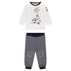 Conjunto de camiseta de manga larga estampada y pantalón a rayas