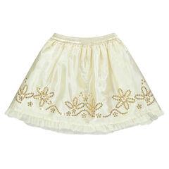 Falda de efecto satinado y de tul con lentejuelas con flores