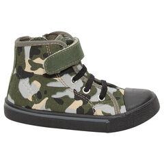 Zapatillas deportivas de tela con estampado militar con cordones y velcro