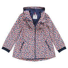 Cortaviento con capucha forrada con capucha de tejido de punto con floridos