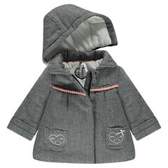 Abrigo con chevrones efecto sarga con forro de borreguillo