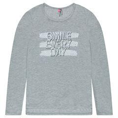 Júnior - Camiseta de manga larga y corte largo con mensaje estampado
