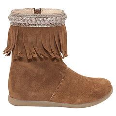 Botines de piel camel con flecos de fantasía