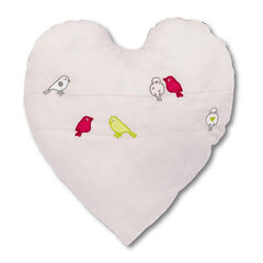 Cojín de algodón piqué con pájaro con corazón con bordado