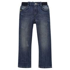 Jeans de corte recto efecto usado cintura elástica