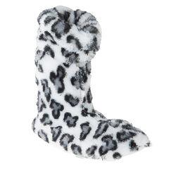 Zapatillas de forma botín de pelo sintético con estampado de leopardo