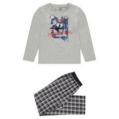 Júnior - Pijama con parte superior de punto y parte inferior de franela a cuadros
