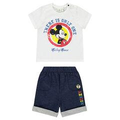 Conjunto de Disney con camiseta de Mickey y bermudas