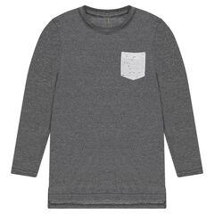 Júnior - Camiseta larga de manga larga con bolsillo