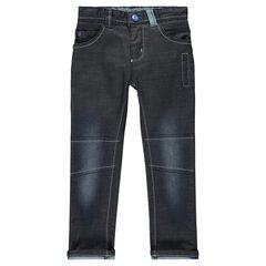 Jeans slim efecto encerado y efecto usado combinación de cortes con pespunte