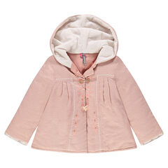 Chaqueta con capucha con estampado de lunares, bordados y pompones