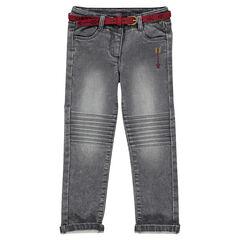 Pantalón de slim de muletón efecto vaquero con cinturón de ante