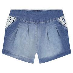 Pantalón corto de cambray y encaje