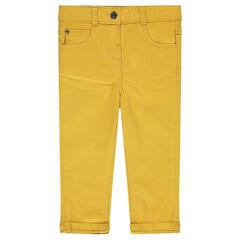 Pantalón slim de sarga lisa